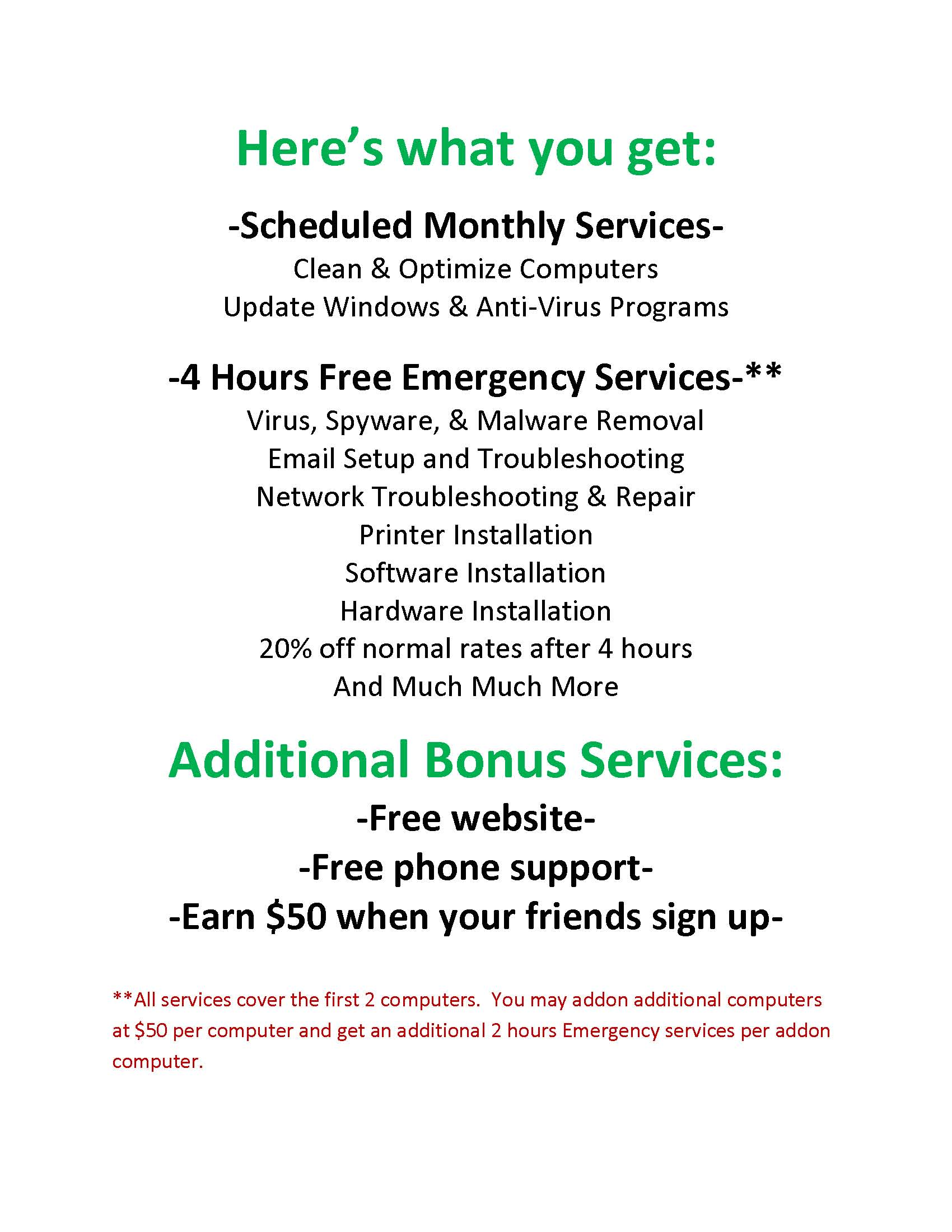 Monthly Service Plan by SimpleTechGuy